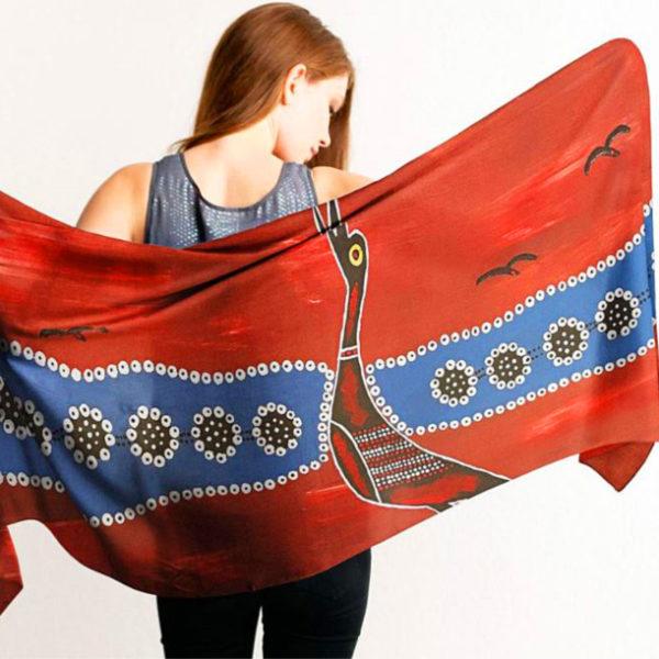 Aboriginal Scarves Brolga Bird