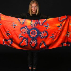 Aboriginal artwork water hole scarf