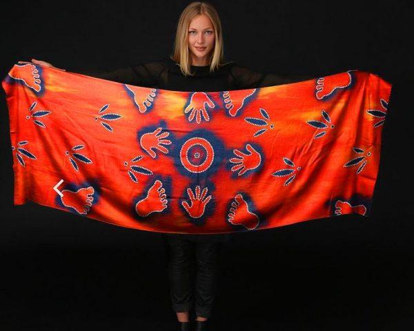 Aboriginal artwork water hole scarf