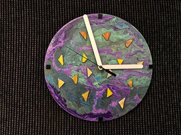 Aboriginal Artwork Clock, Canoe in Water